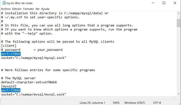 Cambio del puerto MySQL en el código del archivo de Xampp
