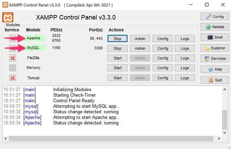 Activación de los servicios de Apache y MySQL en Xampp