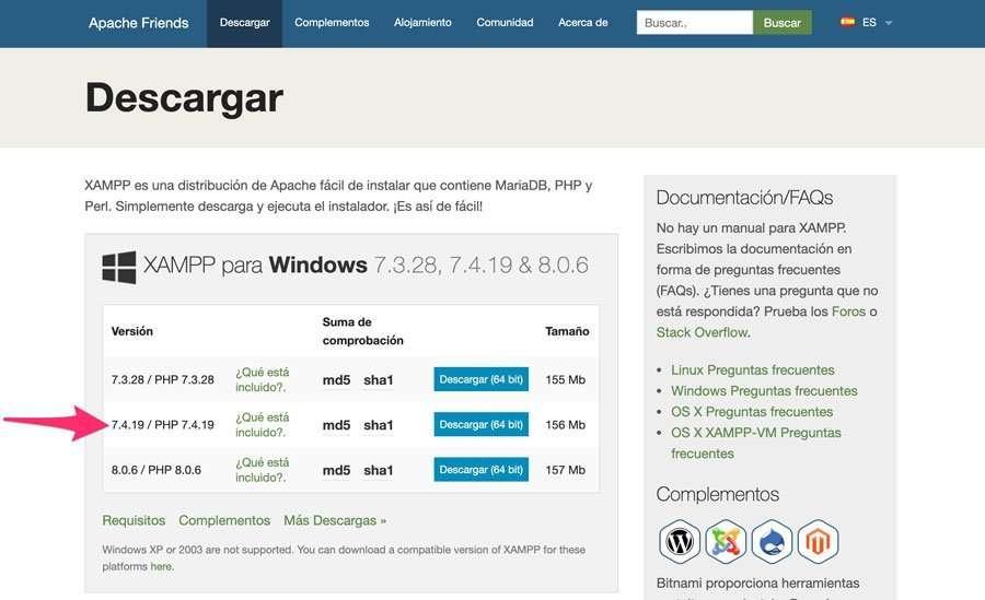 Versión adecuada para instalar WordPress con Xampp