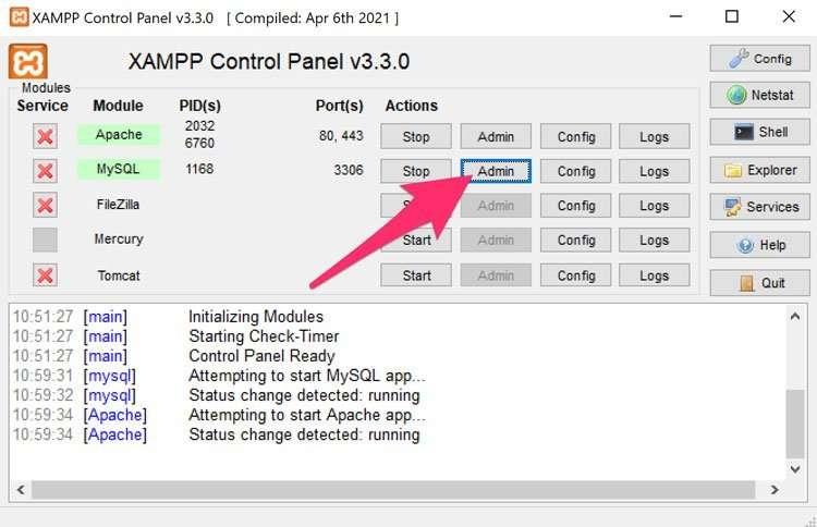 Inciar phpMyAdmin en Xampp