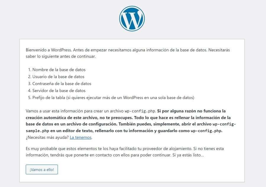 Inicio de la instalación de WordPress en xampp