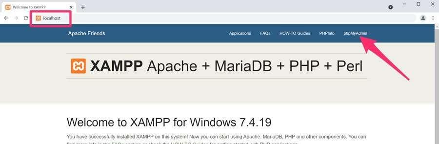 Página principal del servidor local y acceso a phpmyadmin