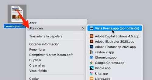 """Abrir archivo PDF con """"Vista previa"""""""