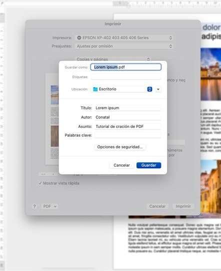 Opciones disponibles para generar el PDF en Mac